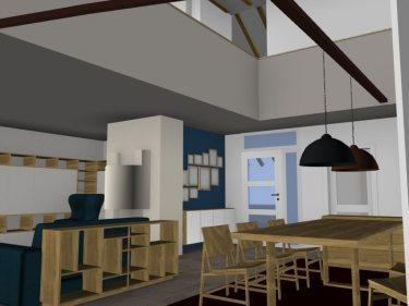 Blick in den Wohn- und Essbereich, hier sieht man die Galerie und das aus Trockenbau geplante Brüstungsgeländer.