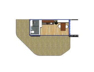 20 Fuß Container ausgebaut mit Bad und Küche, sowie den Anbau einer Terrasse.